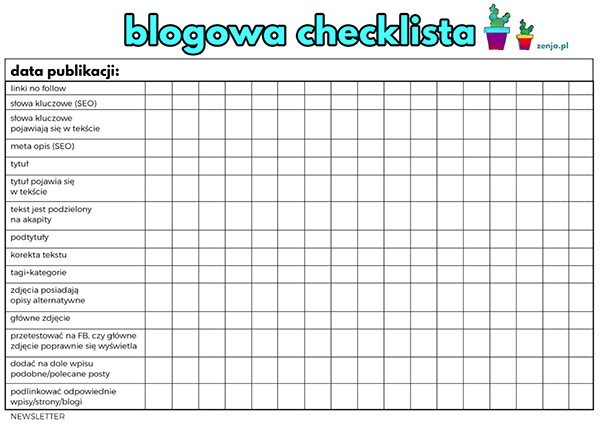 checklista, blog, bloger, zenja blog